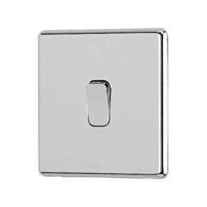 Polished chrome Arlec Fusion single switch angle