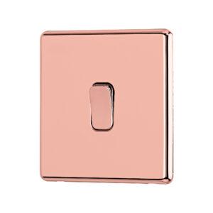 Rose G old Arlec Fusion single light switch angle