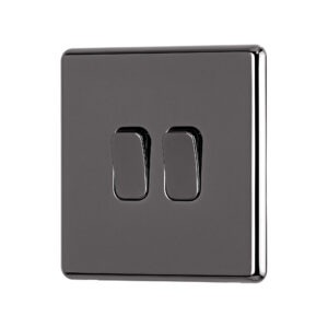 Black Nickel Arlec Fusion double light switch angle