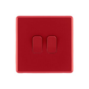 Arlec Fusion Cherry Red double light switch front