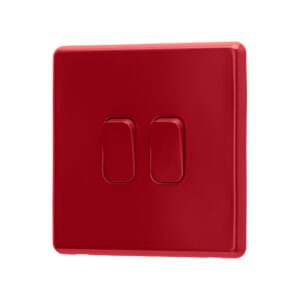 Arlec Fusion Cherry Red double light switch angle