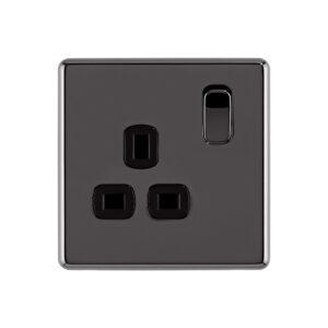 black nickel Arlec Fusion single socket front