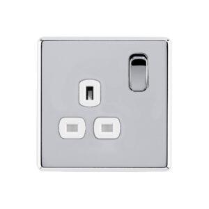 Polished chrome Arlec Fusion signle socket front