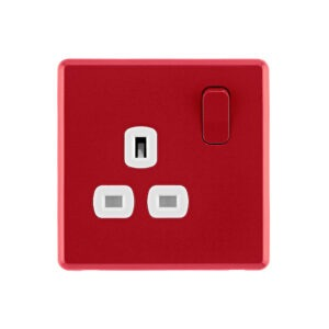 Cherry red Arlec Fusion plug socket front