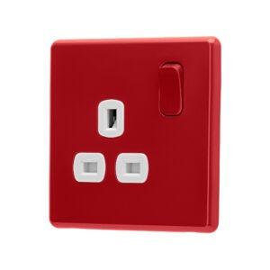 Cherry red Arlec Fusion plug socket angle