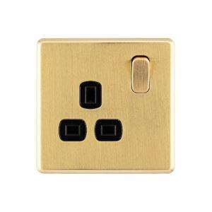 Gold Arlec Fusion single plug socket front