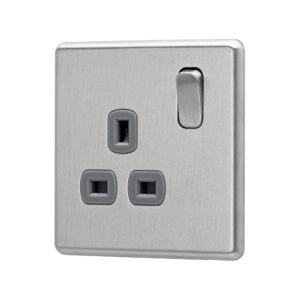 Stainless Steel Arlec Fusion single socket angle