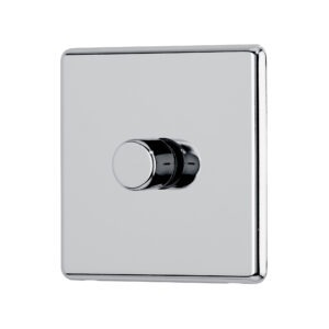 Polished chrome Arlec Fusion single dimmer switch angle