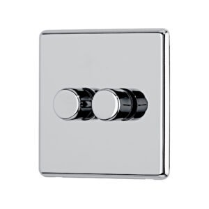 Polished chrome Arlec Fusion double dimmer switch angle