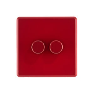Cherry Red Arlec Rocker double dimmer switch front