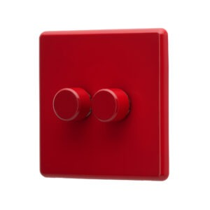 Cherry Red Arlec Rocker double dimmer switch angle