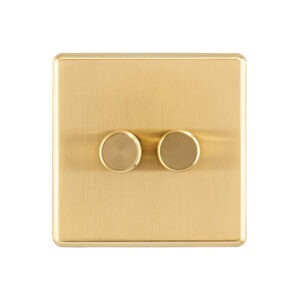 Gold Arlec Fusion double dimmer switch front