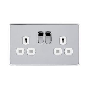 Polished chrome Arlec Fusion double socket front