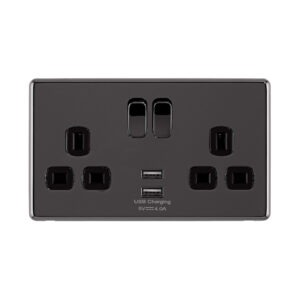 Black Nickel Arlec Fusion USB switch on front