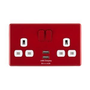 Cherry Red Arlec Rocker USB double socket front