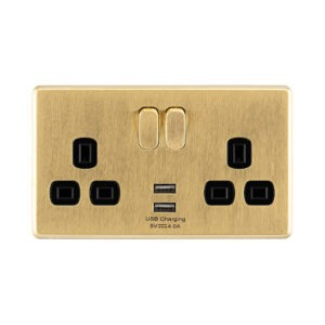 Gold Arlec Fusion double socket front