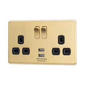 Gold Arlec Fusion double socket angle