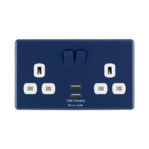 Galaxy Blue Rocker USB Double Socket front