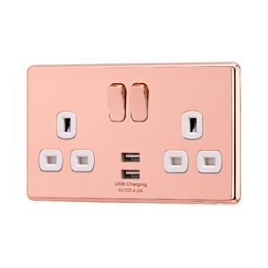 Rose Gold Arlec Fusion USB Plug socket angle