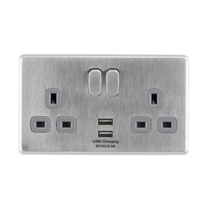 Stainless Steel Arlec Fusion USB double socket front