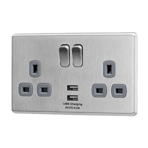 Stainless Steel Arlec Fusion USB double socket angle