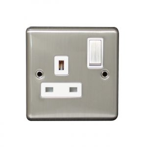 Arlec Wall Switched Fuse Connection 13A Neon Screwless Brushed Stainless Steel